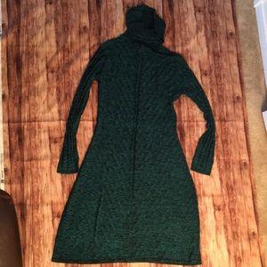 Emerald green and black thin sweater dress